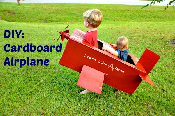 DIY Cardboard Airplane from Learn Like A Mom! http://learnlikeamom.com/creative-corner/diy/cardboard-airplane/ ? #airplane #DisneyPLANES #kids #DIY