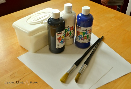 beginning materials for the Tar Heel decoration - Learn Like A Mom