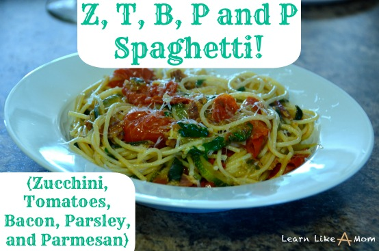 Spaghetti with Zucchini, Tomatoes, Bacon, Parsley, and Parmesan! - Learn Like A Mom! http://learnlikeamom.com/recipes/spaghetti-zucc…rsley-parmesan/  #recipes #dinner #pasta
