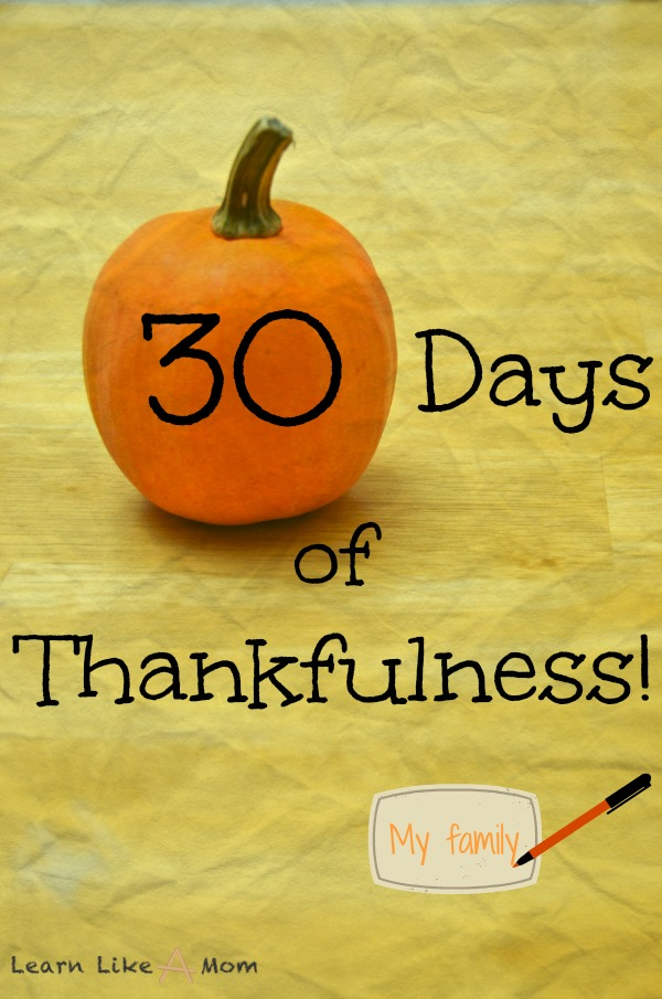 Thirty Days of Thankfulness! - Learn Like A Mom! http://learnlikeamom.com/around-the-house/conversation/thirty-days-thankfulness/