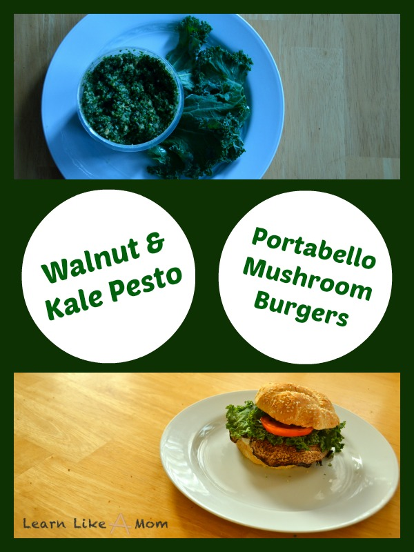 Walnut Kale Pesto Portabello Mushroom Burgers - Learn Like A Mom! http://learnlikeamom.com/recipes/walnut-kale-pe…shroom-burgers/ ? #kale #pesto #recipes #burgers #portabello