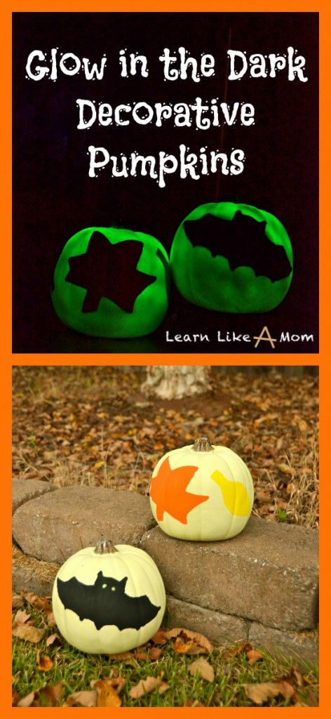 Glow in the Dark Decorative Pumpkins from Learn Like A Mom! Brighten up the fall season with a twist! http://learnlikeamom.com/creative-corner/decorating/glow-dark-decorative-pumpkins/