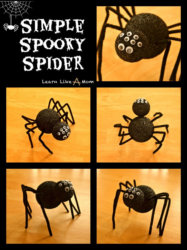 A simple spooky spider for decoration or just for fun! - Learn Like A Mom! http://learnlikeamom.com/creative-corner/decorating/spooky-spider/