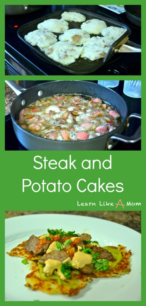 Steak and Potato Cakes! A great recipe from leftovers! - Learn Like A Mom! http://learnlikeamom.com/recipes/steak-and-potato-cakes/  #recipes #dinner #steak #potato