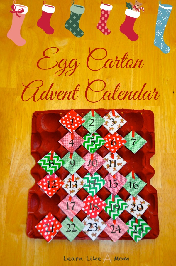 Egg Carton Advent Calendar - Learn Like A Mom! http://learnlikeamom.com/creative-corner/decorating/egg-carton-advent-calendar/  #advent #christmas