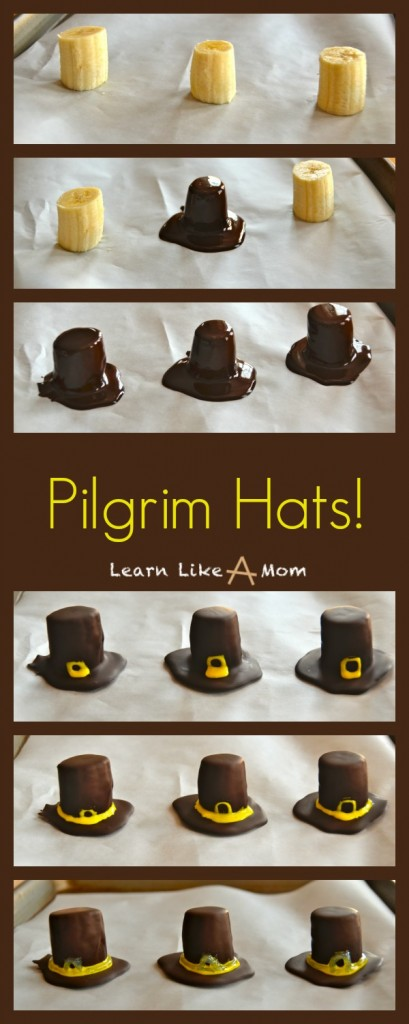 Banana and Chocolate Pilgrim Hats! - Learn Like A Mom! http://learnlikeamom.com/recipes/pilgrim-hats/ #treats #thanksgiving #dessert #recipe #pilgrims