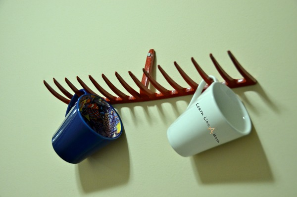 DIY Rake Head Mug Holder! Learn Like A Mom! http://learnlikeamom.com/two-rake-head-holders/