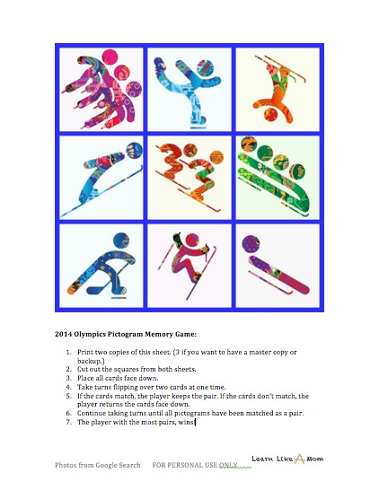 2014 Olympics Pictogram Memory Game - Learn Like A Mom! http://learnlikeamom.com/around-the-house/family-time/2014-olympics-memory-game/ #olympics #kids #ece