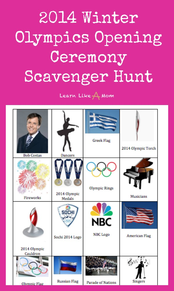 2014 Olympics Opening Ceremony Scavenger Hunt - Learn Like A Mom! http://learnlikeamom.com/around-the-house/family-time/winter-olympics-activities/ #olympics