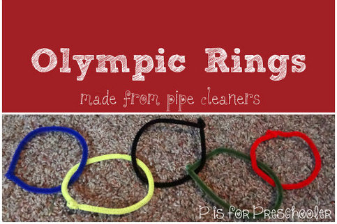 Pipe Cleaner Olympic Rings - P is for Preschooler http://learnlikeamom.com/around-the-house/family-time/winter-olympics-activities/ #olympics #ece #finemotorskills