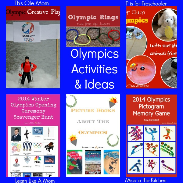 Olympics Activities - Learn Like a Mom, P is for Preschooler, This Ole Mom, Mice in the Kitchen http://learnlikeamom.com/around-the-house/family-time/winter-olympics-activities/ ? #olympics #ece