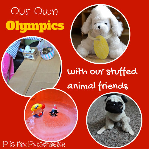Stuffed Animal Olympics - P is for Preschooler! http://learnlikeamom.com/around-the-house/family-time/winter-olympics-activities/ #olympics #ece