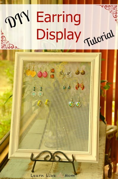 Simple DIY Earring Display to organize your earrings and also makes the perfect gift for any special person in your life! From Learn Like A Mom! http://learnlikeamom.com/diy-earring-display-tutorial/ ?#earringdisplay #earringholder #jewelrydisplay #jewelryholder #diy #diygift #learnlikeamom
