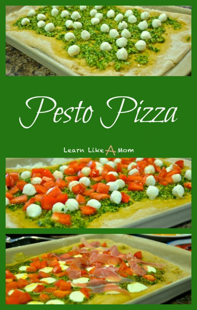 Pesto Pizza with mozzarella, tomatoes, and prosciutto! - Learn Like A ...