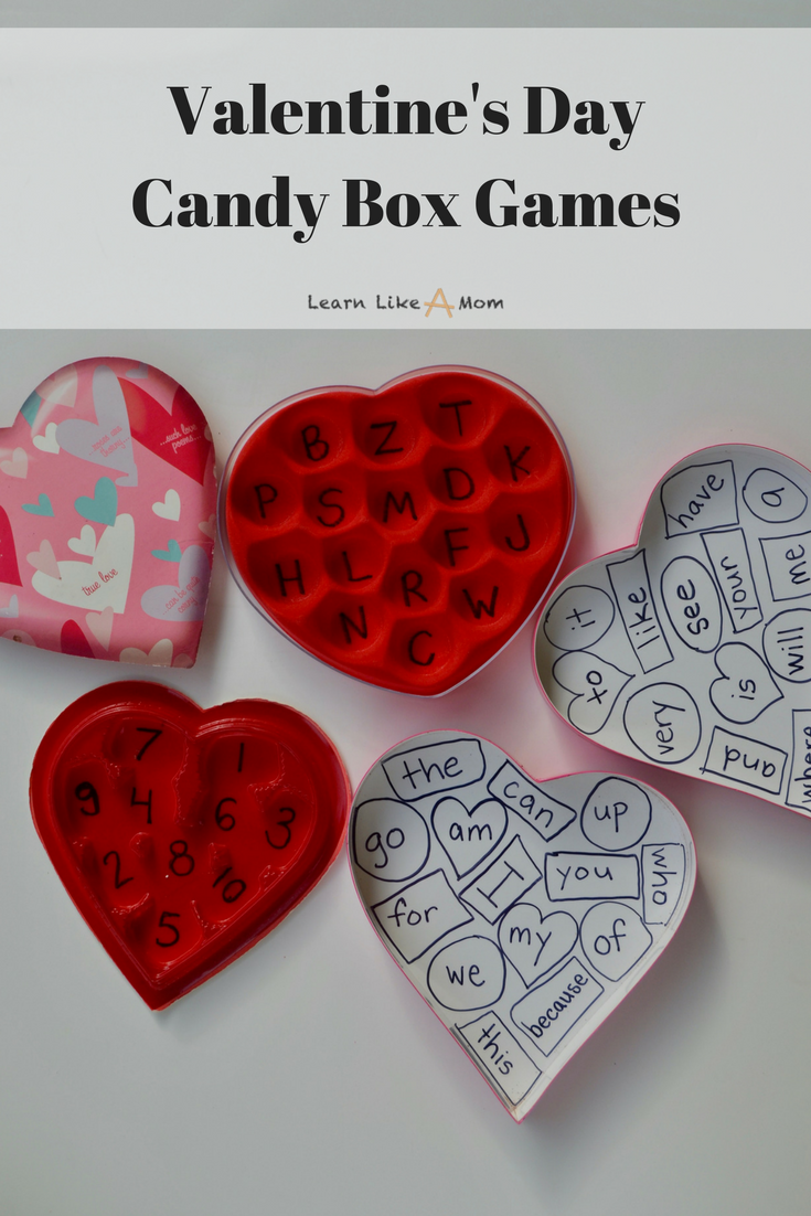 Repurpose those candy boxes with Valentine's Day candy box games! - Learn Like A Mom! http://learnlikeamom.com/valentines-day-candy-box-games/